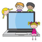 kids with computer clipart